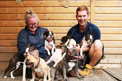 Jess and Joe with their flock at Doggy Day Care Cornwall
