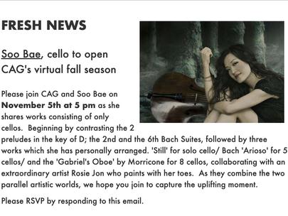 Concert Artist Guild: GO VIRTUAL SERIES Nov 5th 5pm!