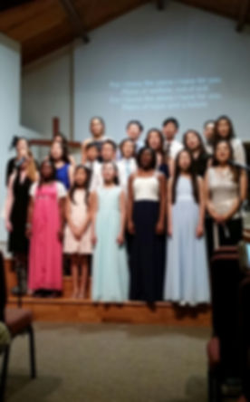 AME students sing for the summer camp