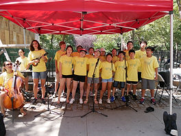 AME students singing on the streets of NYC