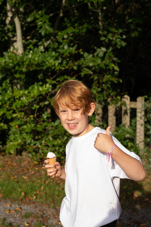 Boy in sunshine with ice cream