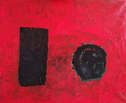 Grands monolithes sur fond rouge