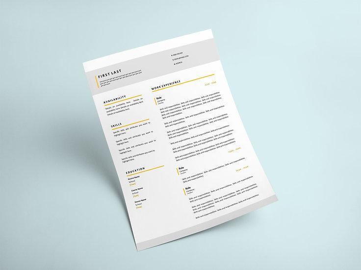 Simple Yellow Resume