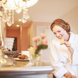 Wedding morning breakfast room service at the wedding venue