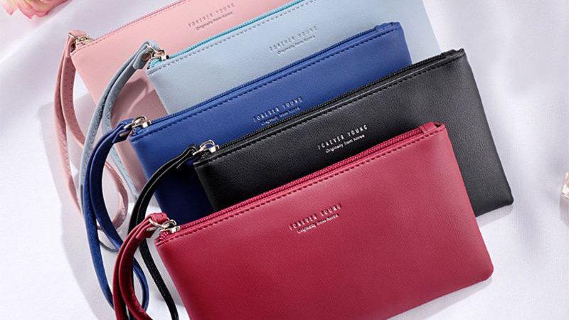 Women PU Leather Purse Wristlet Zipper Wallet Handbag Envelope Phone Clutches