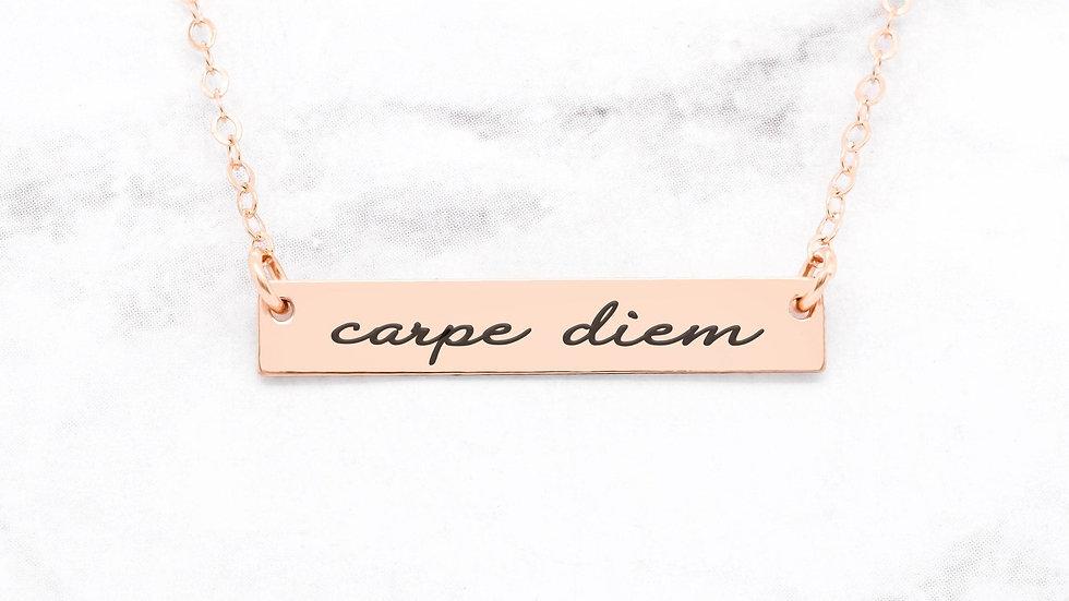 Carpe Diem Necklace - Rose Gold Quote Necklace