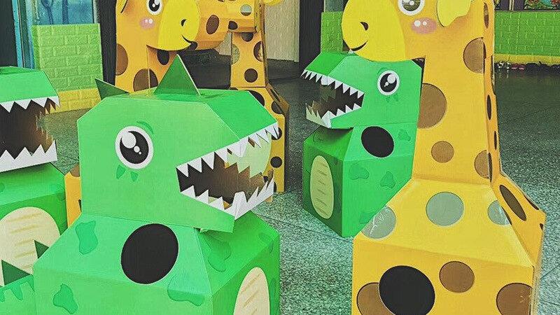DIY Paper Material Arts Children Cartoon Animal Costumes Dinosaur Giraffe