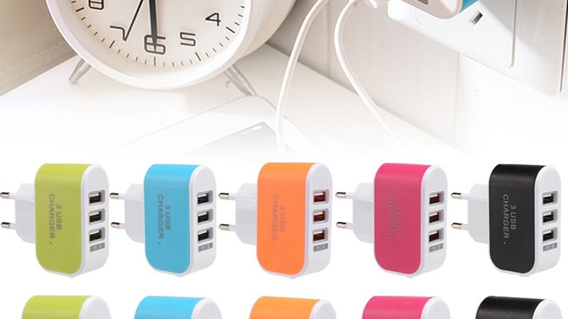 EU/US Plug Charger Station 3 Port USB Charge Charger Travel AC Power Chargers