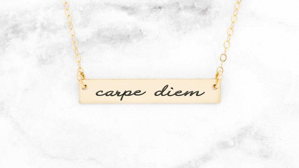Carpe Diem Necklace - Gold Quote Necklace