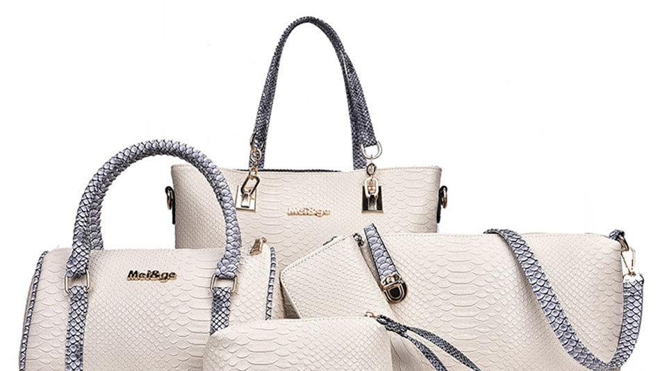 5pcs Bag Set for Women Leather Fashion Shoulder Crossbody Messenger Bags Female