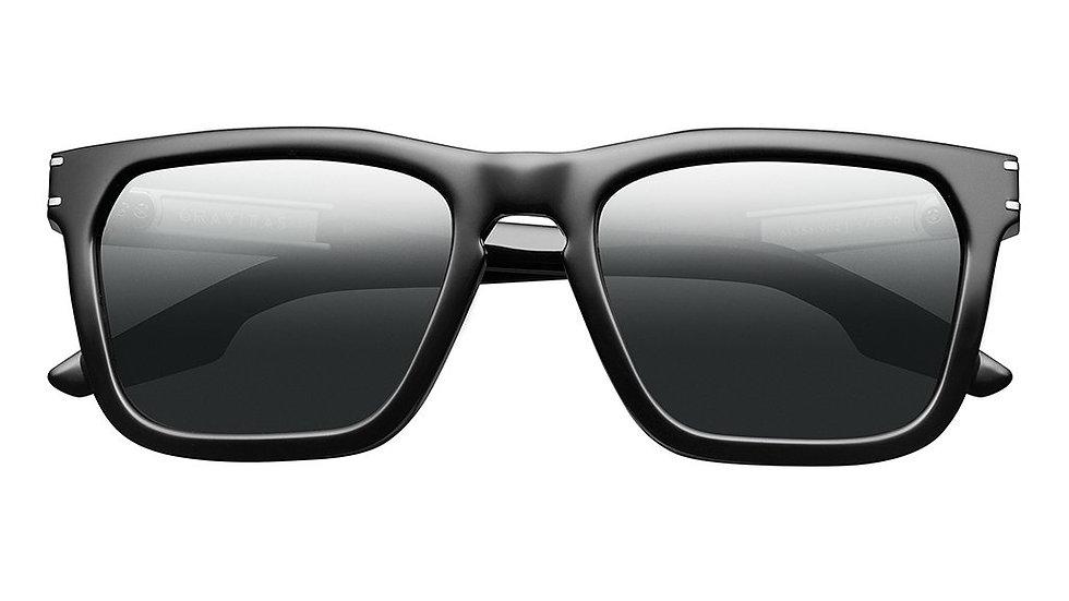 Gravitas: Polished Black - Brushed Aluminum / Grey AR Polarized Lens