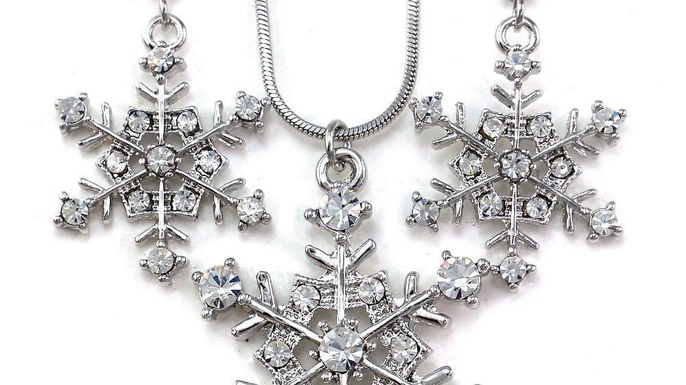 Snowflake Winter Clear Crystal Necklace Earring Set