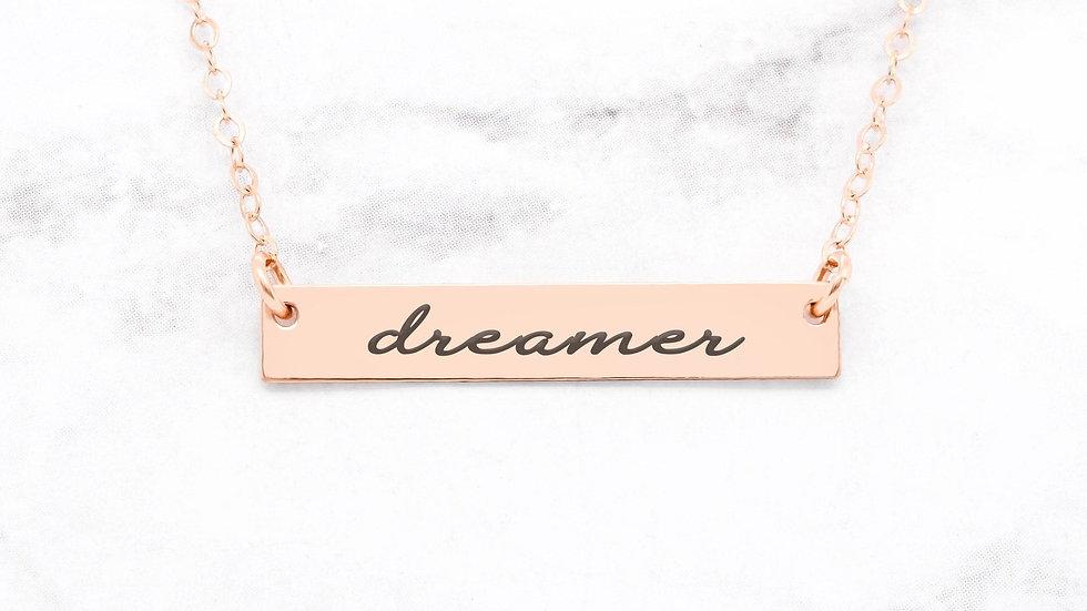 Dreamer Necklace - Rose Gold Bar Necklace