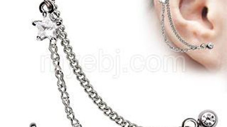 Silver CZ Star Cartilage Earring