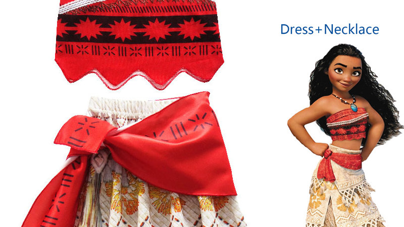 2020 Princess Moana Cosplay Costume for Children Dress With Necklace Halloween