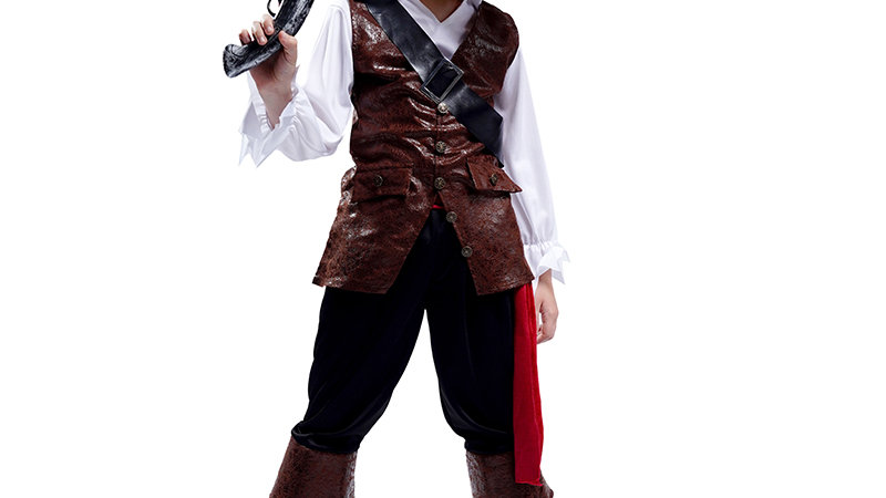 Boy Pirate Halloween Costume Cosplay Kid Deluxe Pirate Clothes