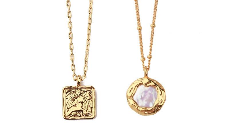 Peri'sBox Baroque Flat Pearl Pendant Necklace Women Minimalist Freshwater