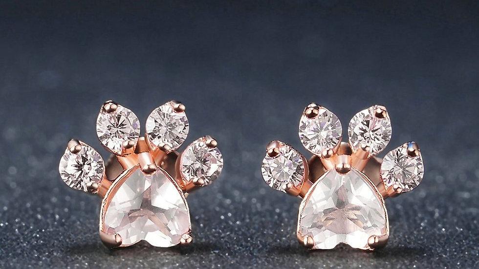 LAMOON Cat Paw 925 Sterling Silver Earrings for Women Rose Quartz Stud Earring