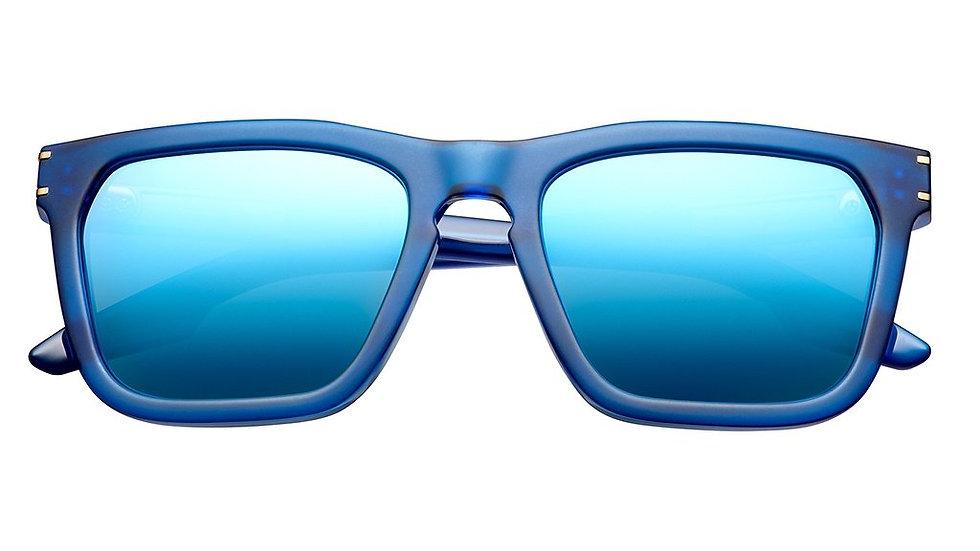 Gravitas: Matte Midway Blue - Antique Brass / Pacific Blue Flash Lens