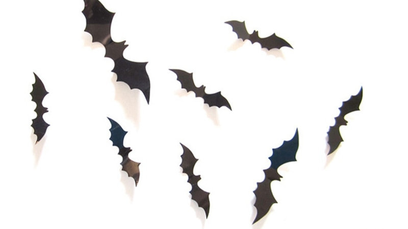 12Pcs/Set Halloween Decoration 3D Black PVC Bat DIY Decor Wall Sticker Halloween