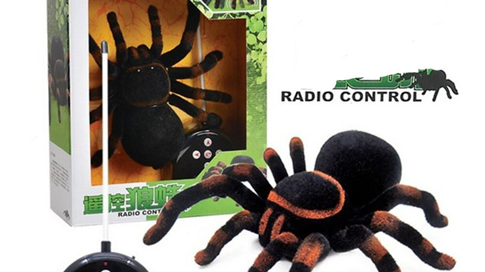 Electronic Pet Remote Control Simulation Tarantula Eyes Shine Smart Black Spider