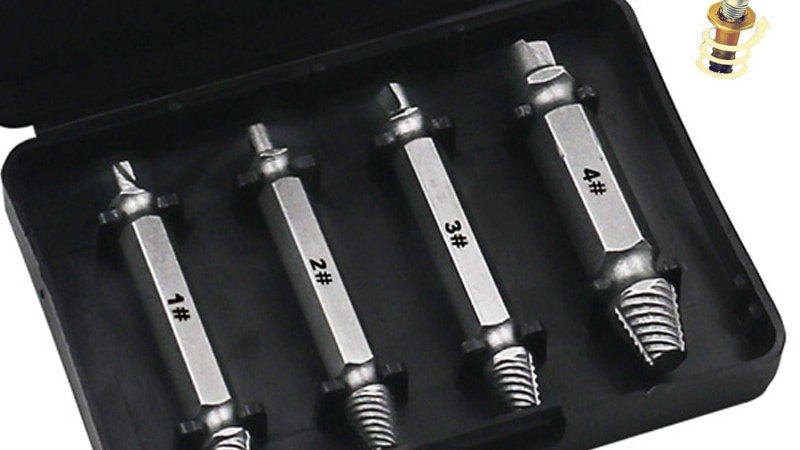 4pcs Damaged Screw Extractor Drill Bits Guide SetStripped Screw Remover Tool