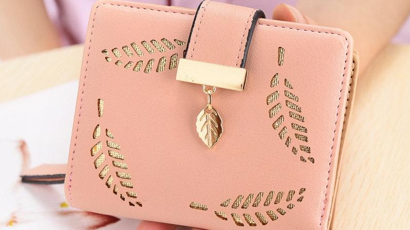 Women Wallet Short Purse Gold Hollow Leaves Pouch Handbag Zipper Pocket Wallet