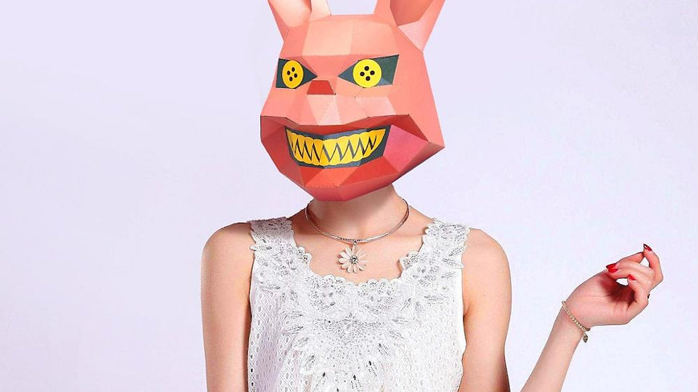 Paper Mask 3d Scary Rabbit Costume Cosplay DIY Paper Craft Model Mask Christmas