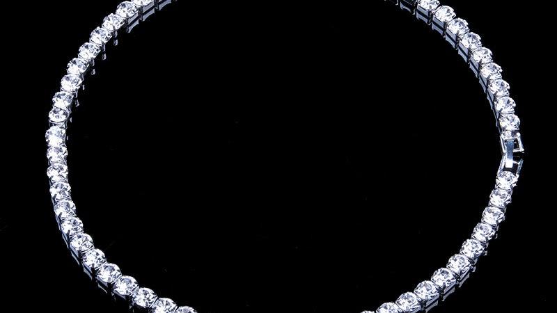 StoneFans Tennis Necklaces Cubic Zirconia Womens Elegant Choker Necklace Luxury