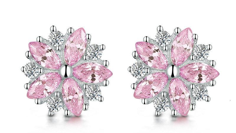 WEGARASTI Silver 925 Jewelry Earrings Woman Pink Cherry Earring 925 Sterling