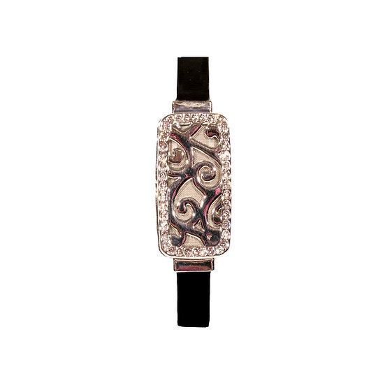 Cooling Bracelet with Premium Leather Band - Silver