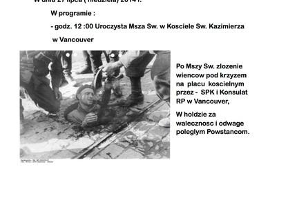 70 ta Rocznica Powstania Warszawskiego