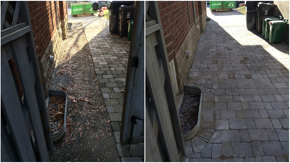 Interlock repair after waterproofing work. Stones graded away from the house and edging stones recut around windows wells. Midtown Toronto