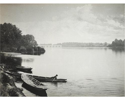 """AMATEUR PICTORIALISTE (c.1910) - """"Romantique au bord du lac"""""""