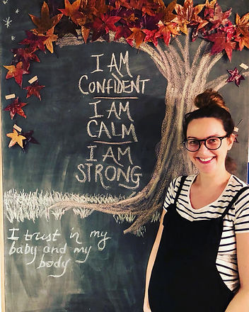 Sophie and her positive birth affirmation board!