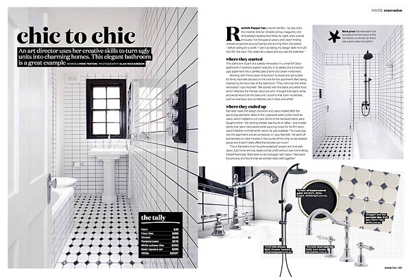 Bathroom renovation story for Inside Out magazine. Before and after