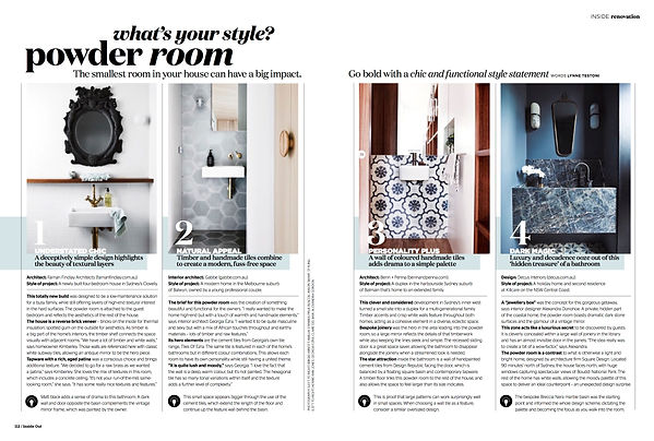 Story on powder rooms for Inside Out magazine