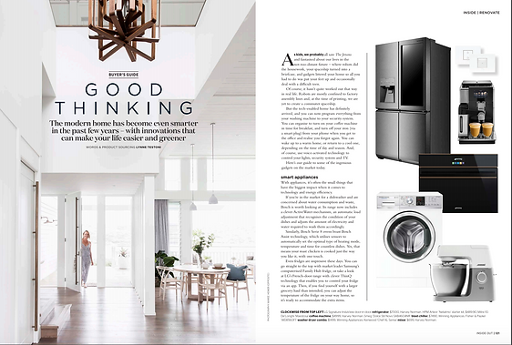 Smart Home article for Inside Out magazne
