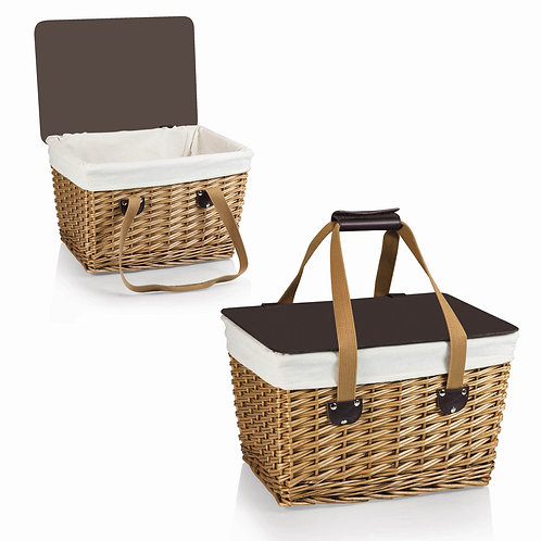 118-00-190 Canasta Wicker Basket - Beige Canvas with Brown Lid
