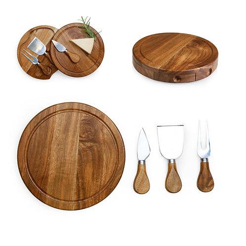 Catalog No. 879-03-512 - Acacia Brie Cheese Cutting Board & Tools Set