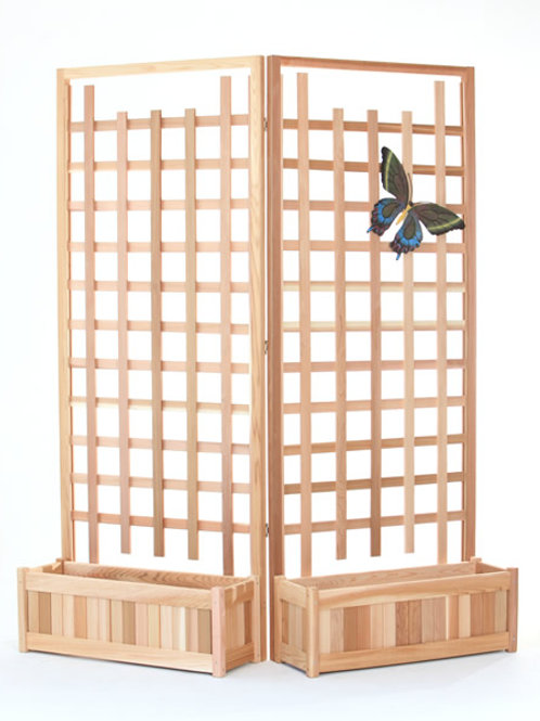 4pc. Cedar Planlog No. PL30-Twin 4pc-cedar-planter-set-with-trellis-screen-catalog-number-pl30-twin