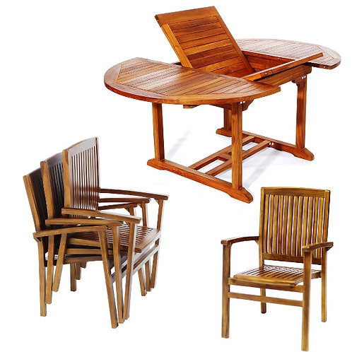 Teak-5pc-oval-stacking-chair-set-catalog-number-te70-24