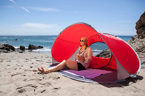 113-00-100 Manta Portable Beach Tent - Red with Gray Accents