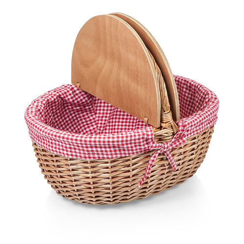 138-00-300 Country Picnic Basket - Red & White Gingham Pattern