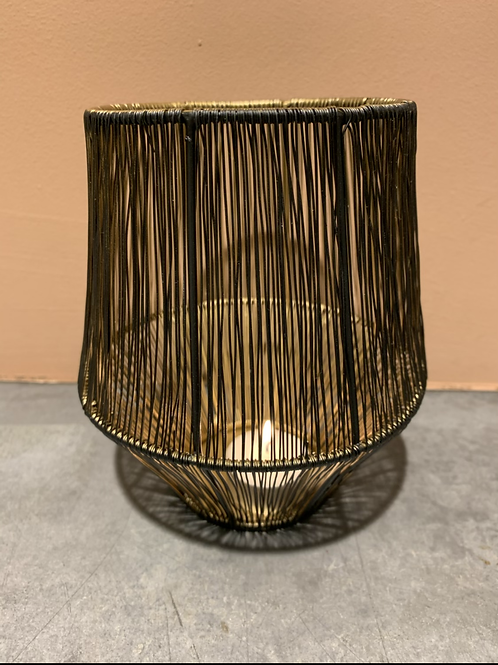 Draad waxinehouder met gouden binnenkant
