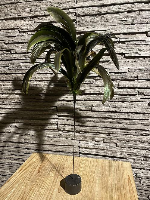 Decoratieve veer op houten blokje - bruin