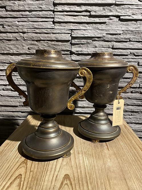 Set metalen mantelstukken in vintage staat