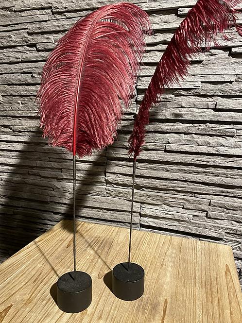 Decoratieve veer op houten blokje - roze