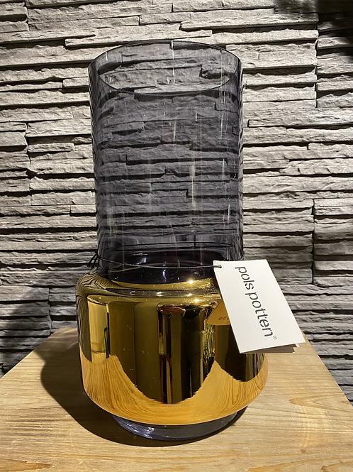 Glazen cilindervaas in goud en rookglas, groot, Pols Potten