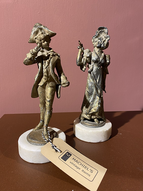 Set bronzen figuren dame en heer